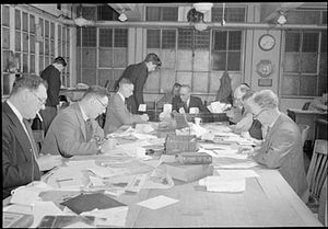 Copy boy - The sub-editors room at the Daily Mail in London, 1944