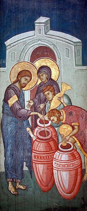 Christian views on alcohol - Jesus making wine from water in The Marriage at Cana, a 14th-century fresco from the Visoki Dečani monastery
