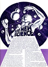 A scanned newspaper page with a title «The New Science» and a futuristic drawing of a man