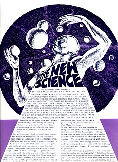 """A scanned newspaper page with a title """"The New Science"""" and a futuristic drawing of a man"""