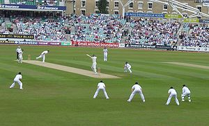 Steve Harmison - Harmison bowls the first ball of the match in the Test match at The Oval in August 2008. Alastair Cook dropped the catch from the batsman (Graeme Smith) in the gully