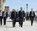 The Prime Minister, Shri Narendra Modi takes a short walk with the Prime Minister of Sweden, Mr. Stefan Lofven from Sager House to Rosenbad, in Stockholm, Sweden on April 17, 2018 (1).JPG