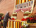 The Speaker, Lok Sabha, Shri Somnath Chatterjee paying floral tributes to the martyrs of the Parliament attack, in New Delhi on December 13, 2007.jpg