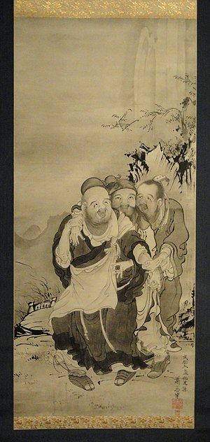 "Huiyuan (Buddhist) - ""The Three Laughers of Tiger Ravine"" – Huiyuan, Tao Yuanming, and Lu Xiujing – Soga Shōhaku (1730-1781)."