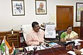 The Union Minister for Tribal Affairs, Shri Jual Oram briefing the media on cabinet decisions regarding the Ministry of Tribal Affairs, in New Delhi.JPG