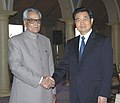 The Vice President, Shri Bhairon Singh Shekhawat shaking hands with the President of the People's Republic of China, Mr. Hu Jintao, in New Delhi on November 21, 2006.jpg