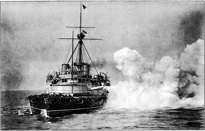 The Victoria firing her 110 ton guns