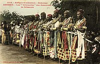 The celebration at Abomey(1908). - The veteran amazones( AHOSI ) of the Fon king Behanzin, Son of Roi Gele.jpg