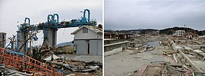 The damaged tsunami gate in Minami-Sanriku town and the town's condition after the tsunami -25-3-2011-.jpg