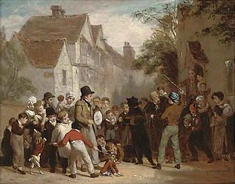 Tame bear - The dancing bear by William Frederick Witherington, England, 1822