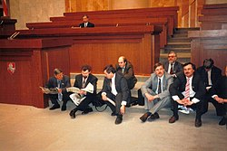 The hunger strike of deputies to the Supreme Council building, Belarus, 1995.jpg