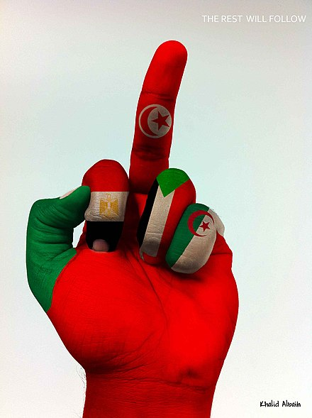 """The rest will follow"". Symbolic middle finger gesture representing the Tunisian Revolution and its influences in the Arab world. From left to right, the fingers are painted as flags of Libya, Egypt, Tunisia, Sudan and Algeria. The rest will follow (2010-2011 Arab world protests).jpg"