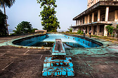 The swimming pool area of the former Ducor Palace Hotel in Monrovia, Liberia.jpg