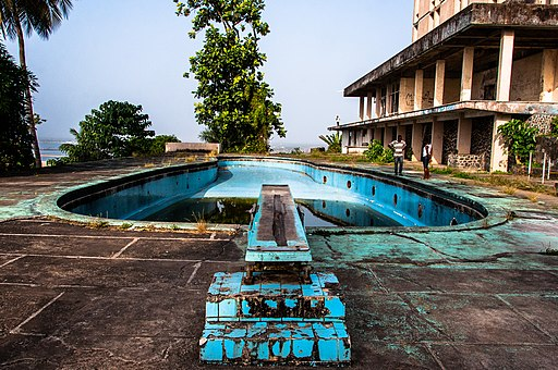 The swimming pool area of the former Ducor Palace Hotel in Monrovia, Liberia