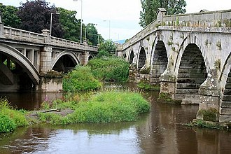 Atcham - The two bridges at Atcham