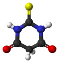 Ball-and-stick model of thiobarbituric acid