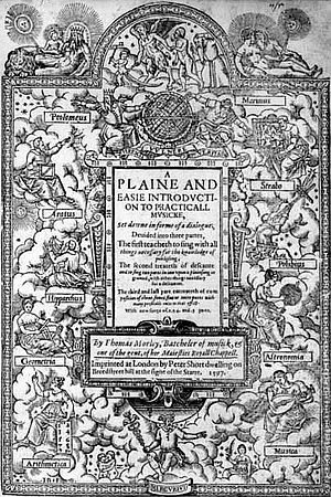 Thomas Morley - Title page of Morley's Plaine and Easie Introduction to Practicall Musicke (1597)