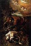 Tintoretto, Domenico - Tancred Baptizing Clorinda - c. 1585.jpg