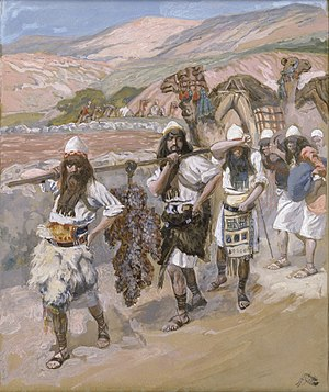 The Twelve Spies - The Grapes of Canaan by James Tissot. Although the spies brought back a cluster of grapes so large that it took two men to carry it (Numbers 13:23), only two of the twelve brought back a good report of the land.