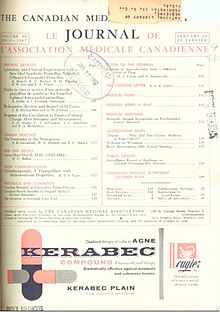 A picture of the cover of the Canadian Medical Association Journal's 86th issue, with a list of articles, including Dr. Le Vann's work on Chlordiazepoxide