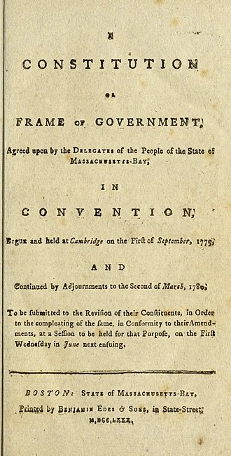 Constitution of Massachusetts - Image: Title Page of the 1780 Massachusetts Constitution