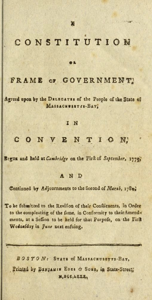 Title Page of the 1780 Massachusetts Constitution