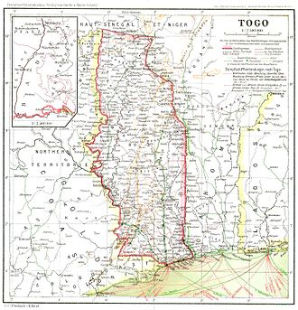 Togoland - Map of Togo in 1915.