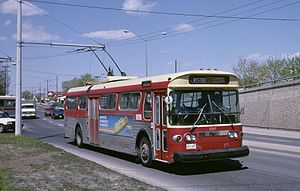 Toronto Transit Commission bus system - From 1947 to 1993, the TTC's system included several Trolley bus routes, such as this one on the Weston Road route in 1987.