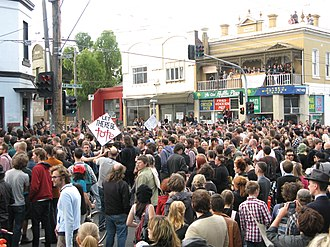 The Tote Hotel - The intersection of Johnston and Wellington Streets, Collingwood, during the rally on 17 January 2010