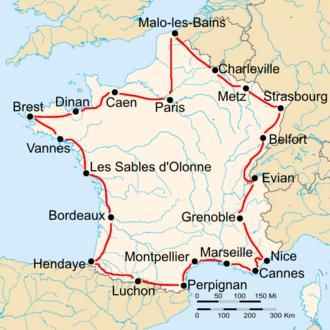 1930 Tour de France - Route of the 1930 Tour de France Followed counterclockwise, starting in Paris