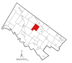 Location of Towamencin Township in Montgomery County