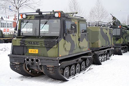 Sisu Nasu NA-110 tracked transport vehicle of the Finnish Army. Most conscripts receive training for warfare in winter, and transport vehicles such as this give mobility in heavy snow. Tracked transport vehicle Sisu NA 110.JPG