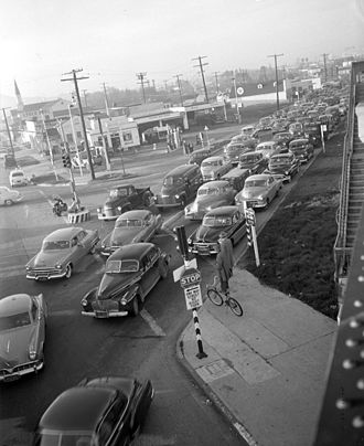 Traffic congestion - Traffic jam in Los Angeles, 1953