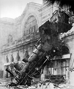 Train wreck at Montparnasse Station, at Place de Rennes, Paris, France, 1895.