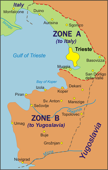 Map of Zone A of the Free Territory of Trieste.
