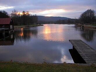 Trebgast - Swimming pond of Trebgast in winter