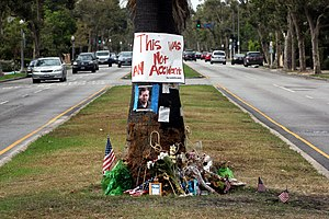 Michael Hastings (journalist) - Image: Tree at crash site of journalist Michael Hastings