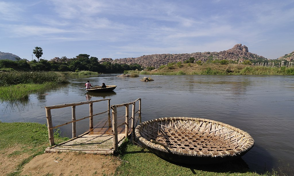 Tungabhadra River and Coracle Boats