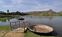 An Indian coracle near the River Tungabhadra, in Hampi India