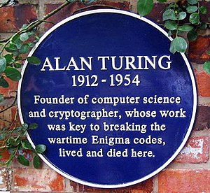 English: Plaque marking Alan Turing's former h...