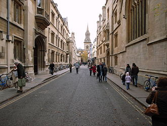 Turl Street - View south from the north end of Turl Street with Exeter College on the left and Jesus College on the right.