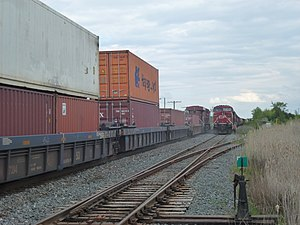 Passing loop - Passing sidings in North America can be very long. This one in Bolton, Ontario – the track on the right – measures some 3.5 km.