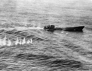 German submarine U-426 - U-426 a Type VIIC submarine, down by the stern and sinking, after attacks by a Short Sunderland flying boat.