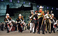 U.S. Marine Corps Staff Sgt. Robert Hungerford, center, joins drum majors from the United Kingdom, Norway, Canada and Australia as they march out during the finale of the Royal Edinburgh Military Tattoo 120803-N-VT117-312.jpg