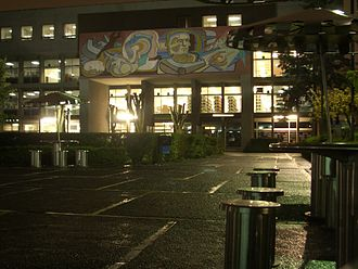 Arnold Belkin - UAM library at night with mural by Belkin