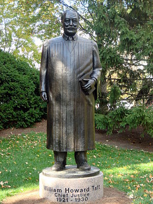 University of Cincinnati College of Law - Statue of former Dean William Howard Taft outside the College of Law. Taft went on to serve as President of the United States and Chief Justice of the United States.