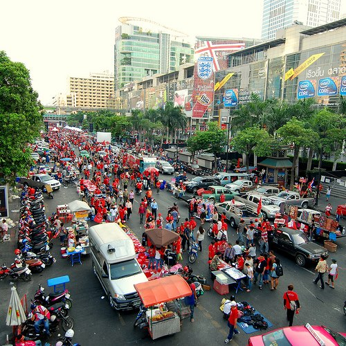 UDD (Red Shirt) protesters on 8th April 2010 near the Ratchaprasong intersection.jpg