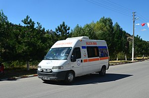 National Medical Rescue Team (UMKE) - An ambulance of UMKE in deployment.
