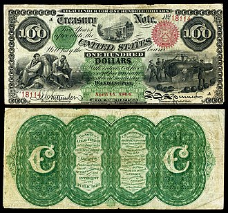 Interest bearing note - Image: US $100 IBN 1864 Fr 204