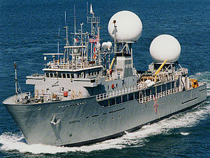 USNS Worthy (T-AGOS-14) - US Army Vessel Worthy as Kwajalein Mobile Range Safety System, October 1995.